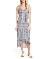 White and Navy Print Beach Dress