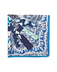 White and Navy Print Pocket Square