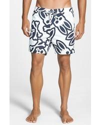 White and Navy Print Shorts