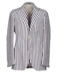 White and Navy Vertical Striped Blazer