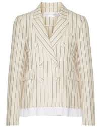 Victoria Victoria Beckham Pleated Striped Wool And Cotton Blend Blazer Cream