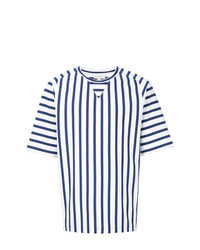 White and Navy Vertical Striped Crew-neck T-shirt