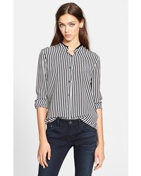 Stripe silk blouse with leather trimmed collar medium 182902