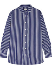 Totme capri striped cotton poplin shirt navy medium 462222