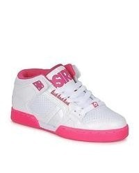 White and Pink Athletic Shoes