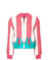 Boutique Moschino Striped Bomber Jacket With Tassel Print