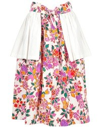 White and Pink Floral Full Skirt