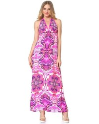 White and Pink Print Maxi Dress