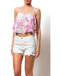 White and Purple Print Cropped Top