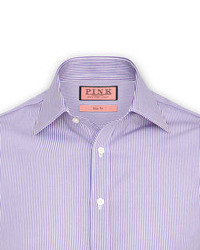 White and Purple Vertical Striped Dress Shirt