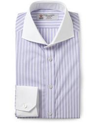 Purple slim fit contrast collar cotton shirt medium 29497