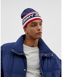 Tommy Jeans Heritage Logo Knitted Beanie In Navy