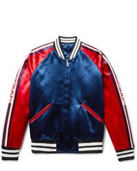 Gucci Reversible Webbing Trimmed Satin Twill Bomber Jacket