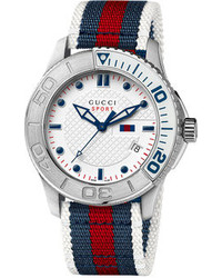 White and Red and Navy Canvas Watch