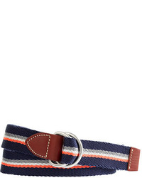 White and Red and Navy Horizontal Striped Canvas Belt
