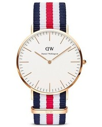 White and Red and Navy Horizontal Striped Canvas Watch