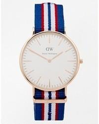 Belfast rose gold striped canvas strap watch blue medium 105078