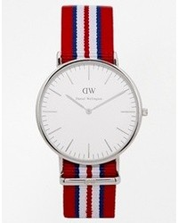 Exeter silver striped canvas strap watch red medium 105077