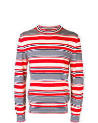 White and Red and Navy Horizontal Striped Crew-neck Sweater