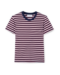 White and Red and Navy Horizontal Striped Crew-neck T-shirt