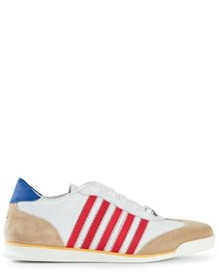 White and Red and Navy Horizontal Striped Low Top Sneakers