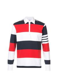 Thom Browne Ls Polo In Rugby Stripe W Engineered 4 Bar