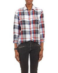 White and Red and Navy Plaid Dress Shirt