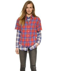 R 13 R13 Double Layer Plaid Shirt