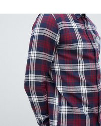 White and Red and Navy Plaid Flannel Long Sleeve Shirt