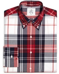 White and Red and Navy Plaid Long Sleeve Shirt