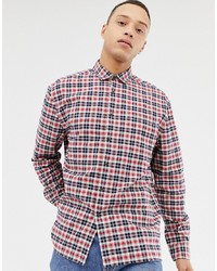 ASOS DESIGN Oversized Boxy Check Shirt In Red Navy