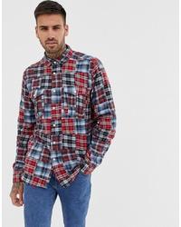 ASOS DESIGN Regular Fit Patchwork Check Shirt