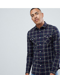 ASOS DESIGN Tall Stretch Slim Check Western Shirt In Navy Red