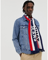 Tommy Jeans Heritage Logo Knitted Scarf In Navy