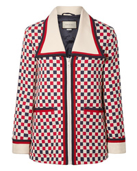 Gucci Checked Med Wool Blend Crepe Jacket