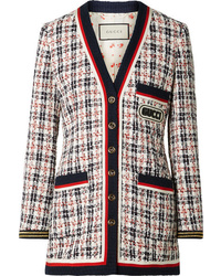 Gucci Grosgrain Trimmed Metallic Tweed Jacket