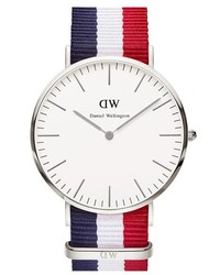 Classic cambridge nato strap watch 40mm red white blue rose gold medium 184566