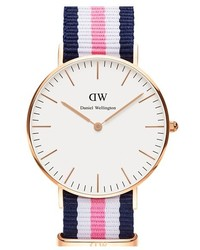 Classic southampton nato strap watch 36mm blue white pink rose gold medium 184567