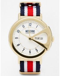 Moschino Up To Date Canvas Stripe Multi Strap Watch