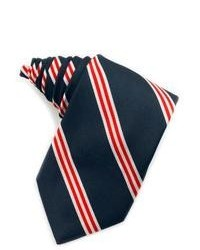 White and Red and Navy Vertical Striped Silk Tie