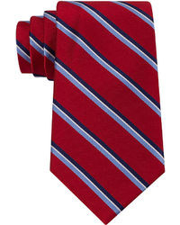 White and Red and Navy Vertical Striped Tie