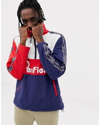 Penfield Havelock Overhead Lined Fleece Colourblock Jacket Logo Front And Side Tape In Red Multi
