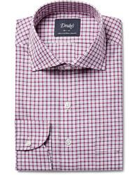 Drakes checked cotton poplin shirt medium 442460
