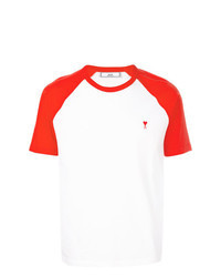 White and Red Crew-neck T-shirt