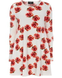 White and Red Floral Swing Dress