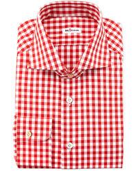Large gingham dress shirt red medium 31376