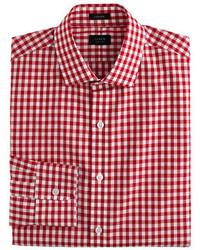 Ludlow cotton linen shirt in classic red gingham medium 318374