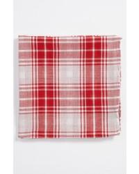 Simon Cotton Pocket Square Red White One Size