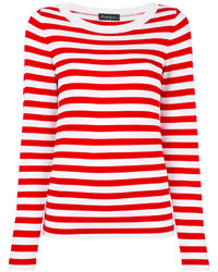 White and Red Horizontal Striped Crew-neck Sweater