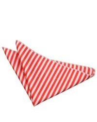 White and Red Horizontal Striped Pocket Square